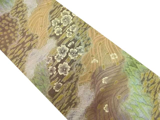 霞取りに花・波・樹木模様織り出し袋帯【リサイクル】【中古】