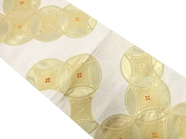 七宝模様織り出し袋帯【リサイクル】【中古】