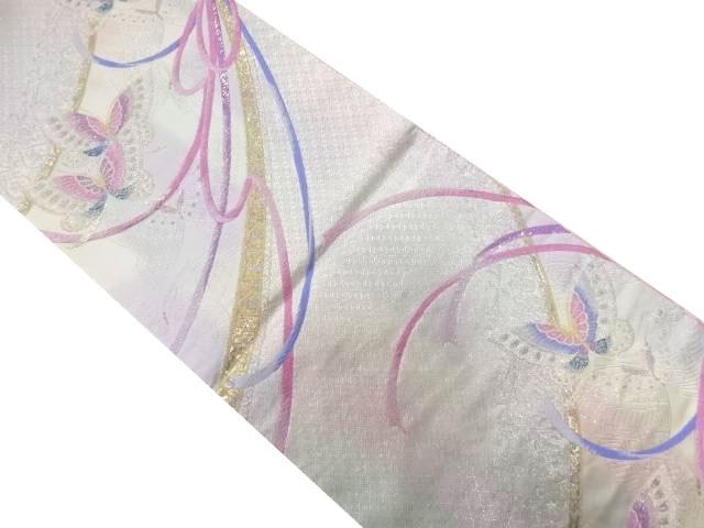蝶にリボン模様織り出し袋帯【リサイクル】【中古】