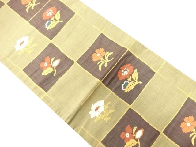 格子に花模様織り出し袋帯【リサイクル】【中古】