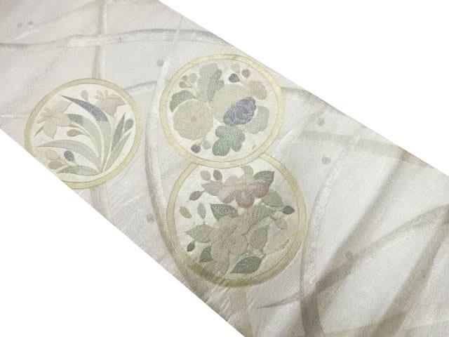 相良刺繍芝草に花丸紋様袋帯【リサイクル】【中古】