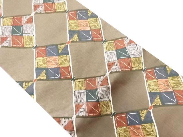 未使用品 斜め市松模様織り出し袋帯【リサイクル】【中古】