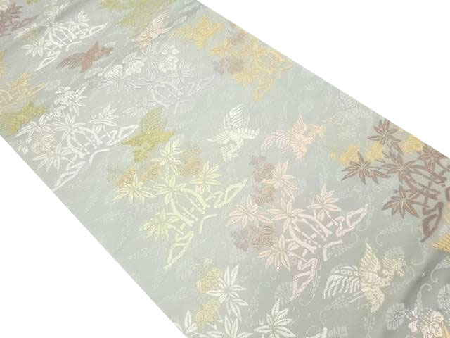 唐織 鳳凰に樹木・楓模様織り出し袋帯【リサイクル】【中古】