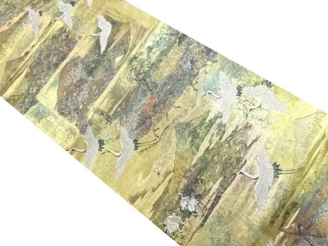 今井織物製 本金箔富嶽三十六景織り出し袋帯【リサイクル】【中古】