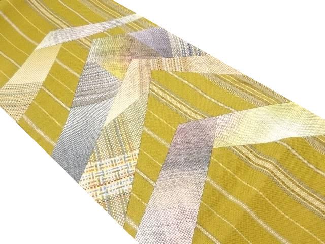 切りばめ抽象模様織り出し袋帯【リサイクル】【中古】