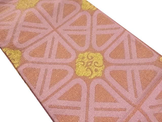 金糸抽象菱模様織り出し全通袋帯【リサイクル】【中古】