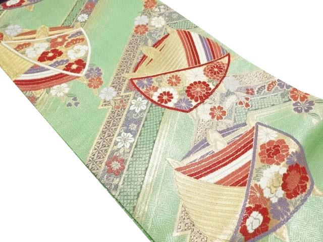 金銀糸糸巻きに菊・牡丹模様織り出し袋帯【リサイクル】【中古】