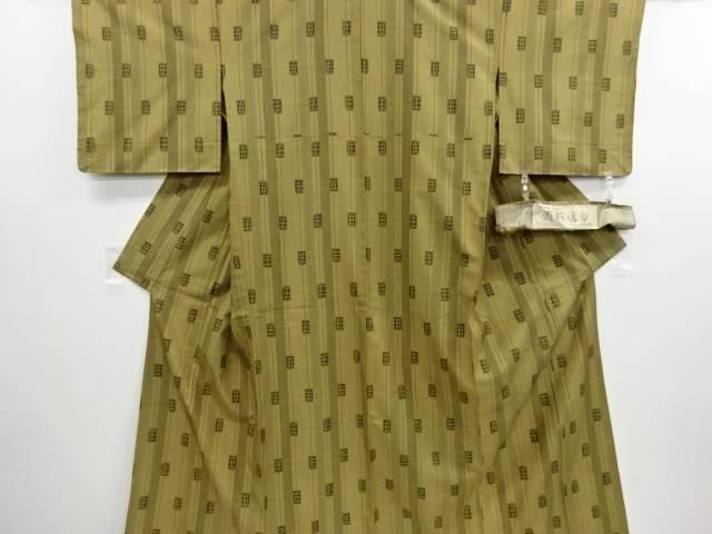 未使用品 仕立て上がり 格子模様織り出し手織り縦節紬単衣着物