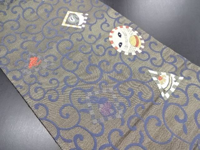 リサイクル 抽象猫に兎・唐草模様織り出し袋帯【中古】