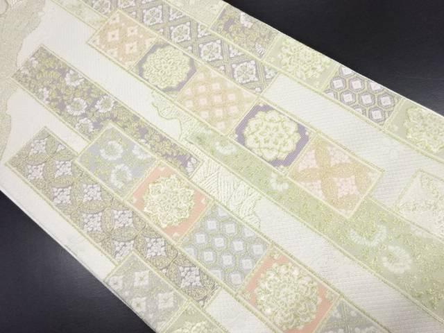 田原大製 本金短冊に紋更紗模様織り出し袋帯(未仕立て)【新品】