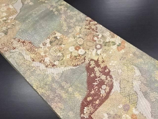 引箔 変わり織 色紙に和楽器・花・枝垂れ桜模様織り出し袋帯【リサイクル】【中古】