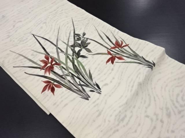 塩瀬手描き蘭模様名古屋帯【リサイクル】【中古】