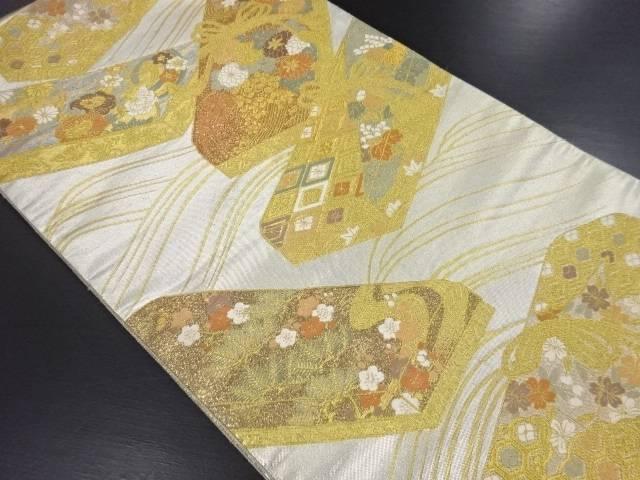 金銀糸小箱に花丸紋・菊模様織り出し袋帯【リサイクル】【中古】【09OFF】