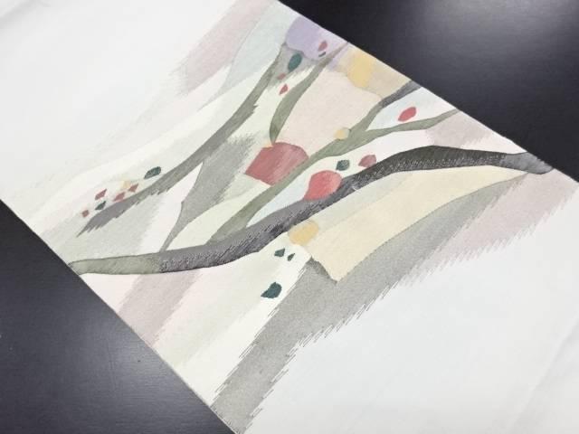 未使用品 綴れ抽象枝葉模様織り出し袋帯【リサイクル】【中古】