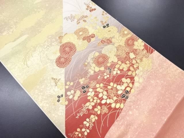 引き箔菊・萩模様織り出し袋帯【リサイクル】【中古】