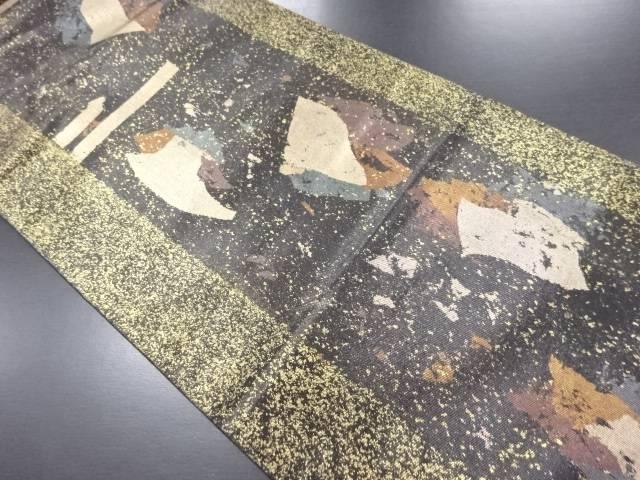 本金抽象模様袋帯【リサイクル】【中古】