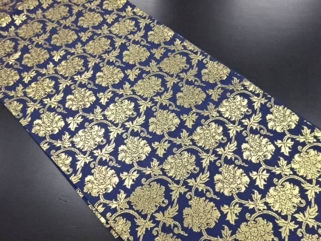 唐花模様織り出し袋帯【リサイクル】【中古】