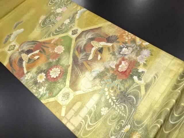 箔置き螺鈿蜀江に鳳凰・牡丹・菊模様袋帯【リサイクル】【中古】