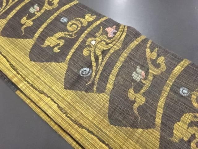 紗抽象唐花模様織り出し袋帯【リサイクル】【中古】
