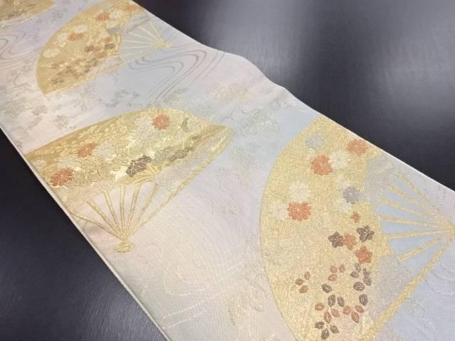金糸 扇面に菖蒲・菊模様織り出し袋帯【リサイクル】【中古】