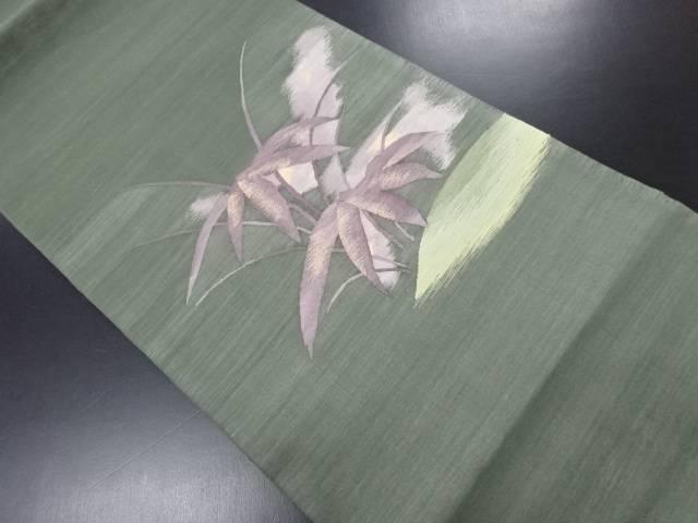 未使用品 綴れ草葉模様織り出し袋帯【リサイクル】【中古】