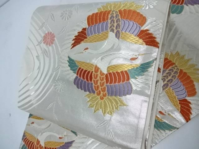 袋帯 六通柄 鶴に流水文様【リサイクル】【中古】