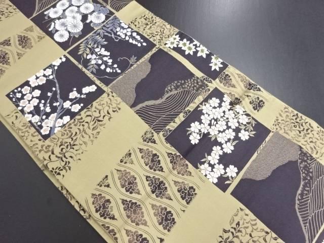 色紙に菊藤桜模様織り出し袋帯【リサイクル】【中古】