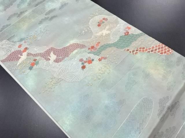 相良刺繍道長取りに群鶴模様袋帯【リサイクル】【中古】