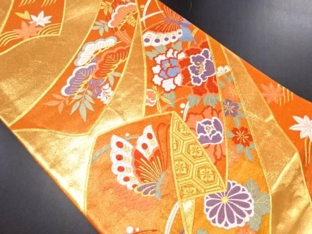 金糸熨斗に牡丹・松・蝶模様織り出し袋帯【リサイクル】【中古】