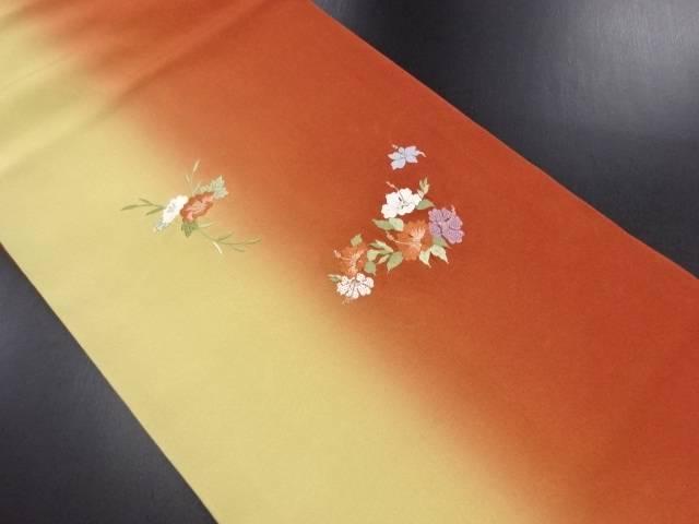 花模様刺繍暈し名古屋帯【リサイクル】【中古】