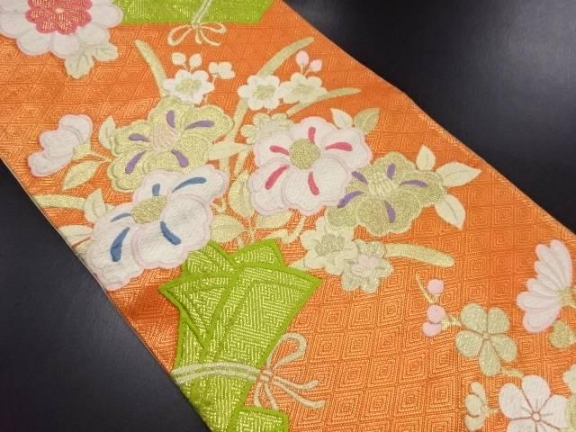 枝椿に菊模様織り出し袋帯【リサイクル】【中古】