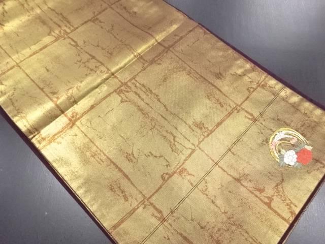 引き箔花丸紋織り出し袋帯【リサイクル】【中古】