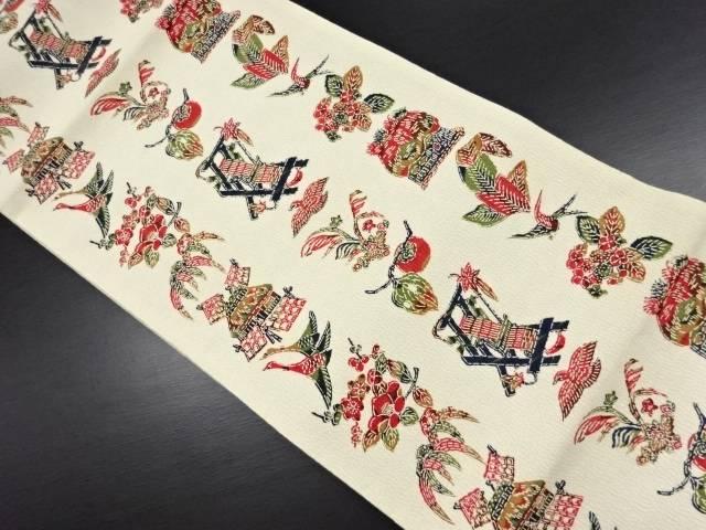 上代紬型絵染 柿に花鳥・はた織機模様全通袋帯【リサイクル】【中古】