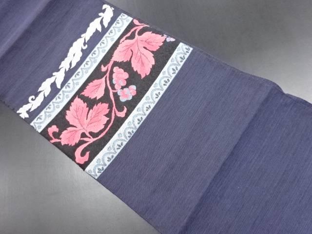 横段に葡萄模様織り出し名古屋帯【リサイクル】【中古】