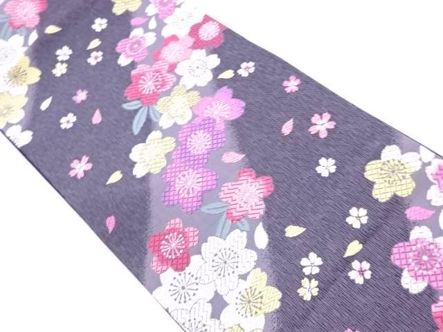 桜模様織出し袋帯【リサイクル】【中古】