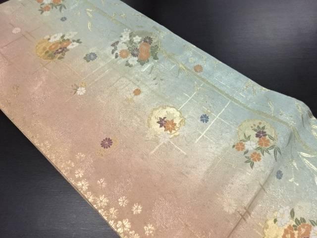 本金雪輪に菊椿楓模様織り出し袋帯【リサイクル】【中古】