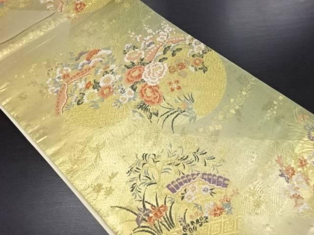本金箔丸に檜扇・草花模様織り出し袋帯【リサイクル】【中古】