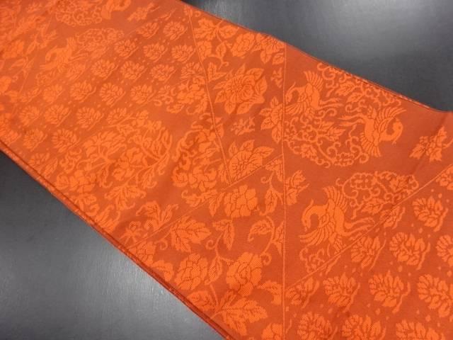 花鳥更紗模様織り出しリバーシブル全通袋帯【リサイクル】【中古】