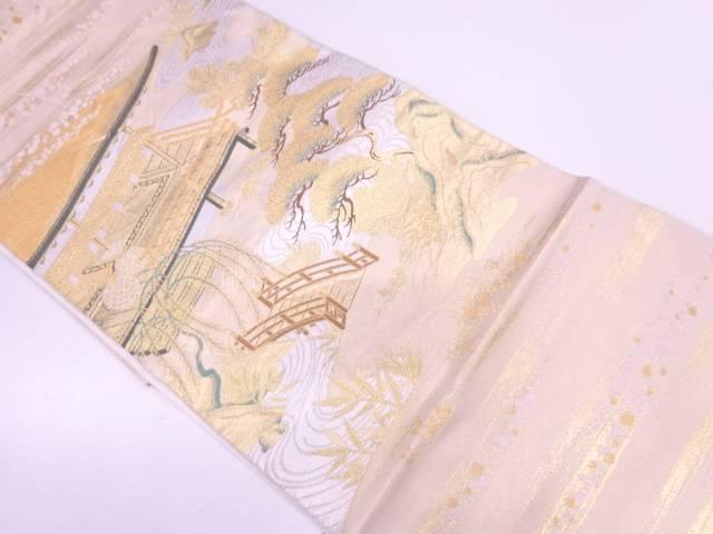 川島織物製 流水に松・屋敷風景模様織出し袋帯【リサイクル】【中古】