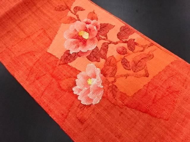 未使用品 手織り真綿紬椿模様織り出し名古屋帯【リサイクル】【中古】