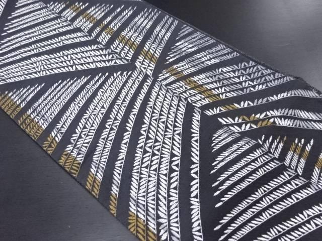 変わり枝葉模様織り出し袋帯【リサイクル】【中古】