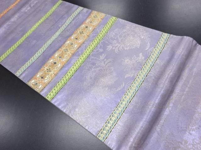 本金箔横段模様織り出し袋帯【リサイクル】【中古】