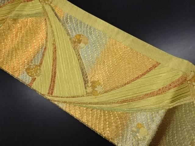 本金 抽象波に蝶・花丸文様織り出し袋帯【リサイクル】【中古】