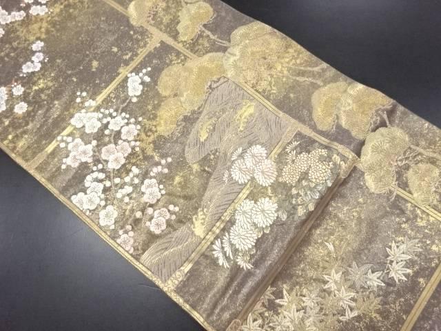 本金箔松に枝梅・菊・波模様織り出し袋帯【リサイクル】【中古】