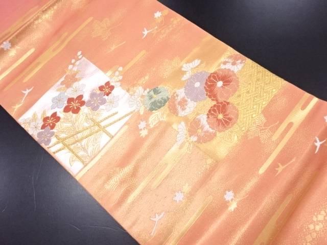 引箔菊に花鳥模様織り出し名古屋帯【リサイクル】【中古】