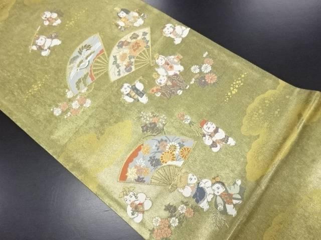 本金花扇に御所人形模様織り出し袋帯【リサイクル】【中古】