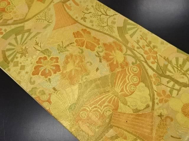 佐賀錦琵琶に草花・蝶模様織り出し袋帯【リサイクル】【中古】