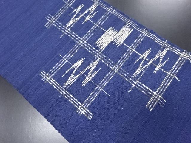 手織り真綿紬格子に霞模様織り出し名古屋帯【リサイクル】【中古】