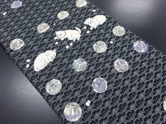 猫と毬模様織り出し袋帯【リサイクル】【中古】