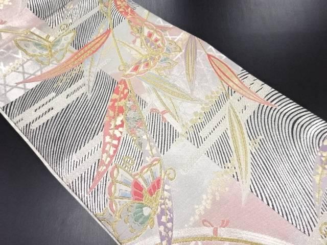 金糸枝垂れに蝶模様織り出し袋帯【リサイクル】【中古】【09OFF】